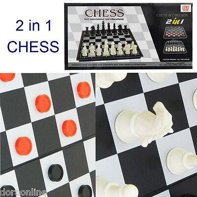 Kids Children Chess Set in Board Game Plastic 2 in 1 Chess & Checker