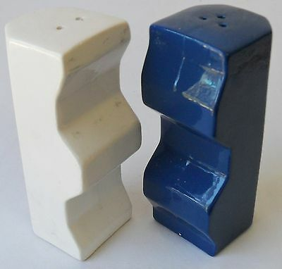 Vintage 1960s Salt & Pepper Shakers BLUE & WHITE GEO CLICK TOGETHER Porcelain