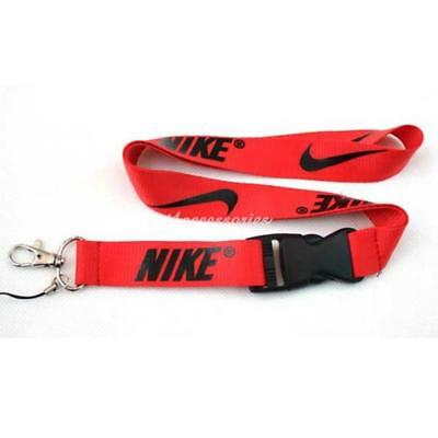 Nike Lanyard Strap Badge ID Running Cell Holder Detachable Keychain Camera Red