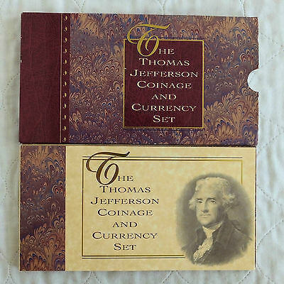 Usa 1993 Jefferson Silver Dollar And $2 Banknote Sealed Pack Set