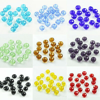 Transparent Rondelle Faceted Crystal Glass Loose Spacer Beads 4/6/8/10mm Finding