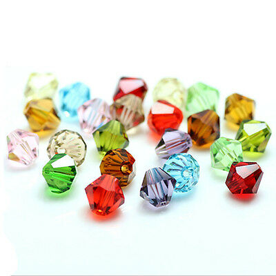 20-100Pcs Faceted Glass Crystal Loose Bicone Spacer Charms Beads Making 4/6/8mm