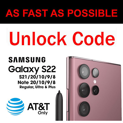 Unlock Code Samsung Galaxy S10 S9 S8 + Plus Note 9 8 AT&T ATT