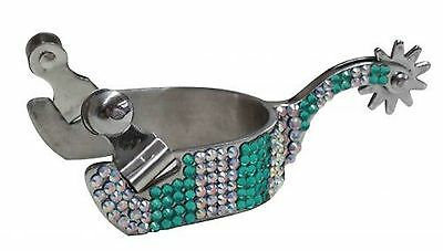 Showman Ladies Size Teal & Iridescent Bling Rhinestone Spurs