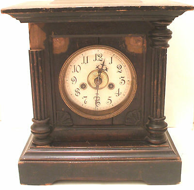 "American Carved Oak Case Striking Mantle Clock c1900 GWO 11""H 10""W 7""D"