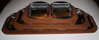 Denmark Teak Serving Trays With 18/8 Stainless Trays Mid Century Danish