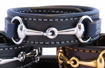 Two Tone Leather Black Navy Blue Leather Silver Horse Pick Snaffle Bit Bracelet