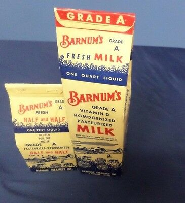 Vintage Barnum's One Quart Milk and One Pint Half and Half Cartons Lot# 6-0250