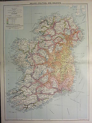 1939 MAP ~ IRELAND with RAILWAYS LEINSTER DUBLIN ULSTER LONDONDERRY