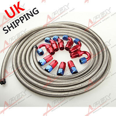 An6 6-An Stainless Steel Braided Oil/fuel Hose+ Fitting Hose End Adaptor Kit Uk