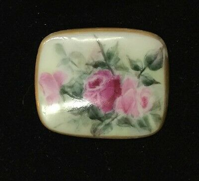 Large Hand Painted Roses VICTORIAN PORCELAIN  PIN#A7