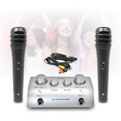 2 channel SKYTEC Home TV Link Karaoke Microphone Mixer FX TONE ECHO + cables Mic
