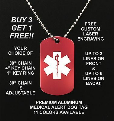 Medical Alert Aluminum Dog Tag Necklace Free Engraving Diabetic Allergies Ice
