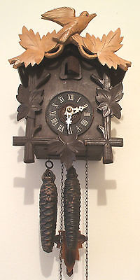 "Traditional German 2 Weights Driven Carved Wood Case Cuckoo Clock 10""H 7""W 5""D"