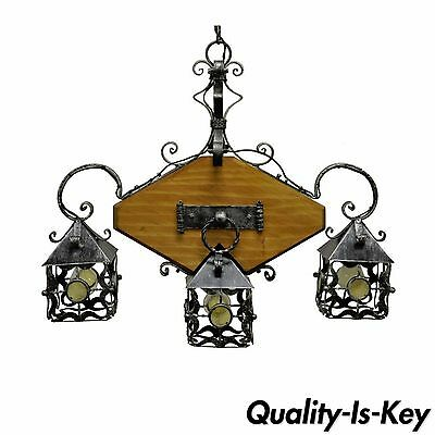 Vintage Mission Arts & Crafts Gothic Wood Wrought Iron Curule Chandelier Fixture