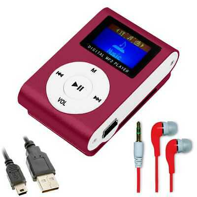 MP3 Mini lettore con Radio FM Player Music Rosso + Cuffie 3.5 mm + Cavo Mini USB