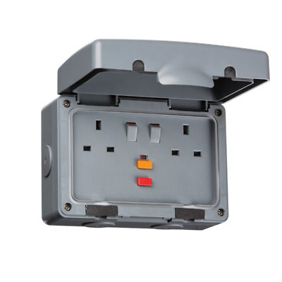 13A RCA Protected 2 Gang Double Pole IP66 Weatherproof Outdoor Socket