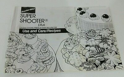 Super Shooter Plus Cookie Press Booklet use and care recipe Proctor Silex