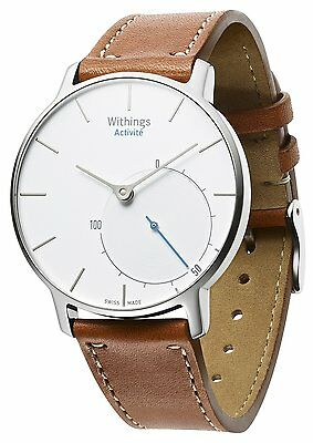 Withings Activité Sapphire Activity & Sleep Tracker Brown Leather Watch - Silver