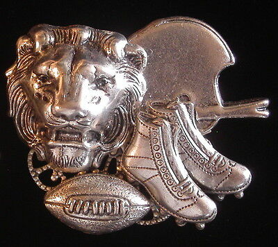 Lion Lions Football Pin Oxidized Matte Silver Helmet Clets King Leo the Lion