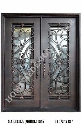 Marbella Wrought Iron Double doors Operable Glass with Iron Pulls
