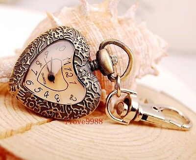 Xmas gift New 10 pcs Fashion Bronze Heart design Key Ring pocket Watches USF96