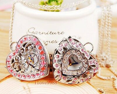New 10pcs Pink Crystal Heart girls lady Necklace Pocket Watches 2 styles USF81
