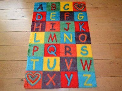 Alphabet ABC Non Slip Machine Washable Sheepskin Style Kids Rug. Size 70cm x