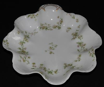 Haviland & Co. Limoges France Schleiger 74 Ruffled Handled Bowl /Candy