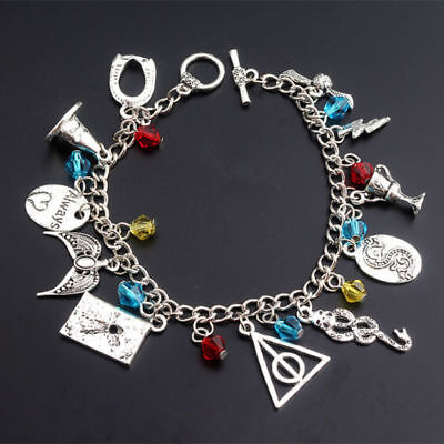 HARRY POTTER Movie (11 Themed Charms) Silvertone Charm Bracelet VERY SUBSTANTIAL