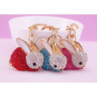 Crystal Rhinestone Rabbit Keyring Charm Pendant Purse Bag Key Ring Chain Gift