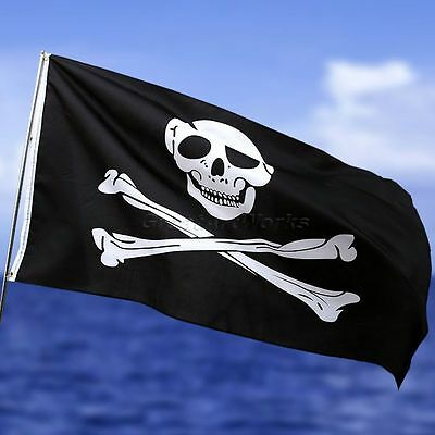 Jolly Roger Eyelets Skull and Crossbones Pirate Flag Party Banner 3x5Ft/90x150cm