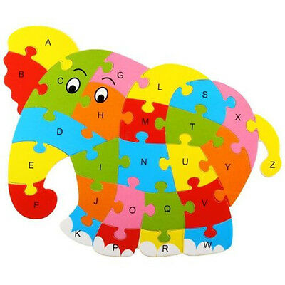 Elephant Wooden Blocks Animals Kid Child Educational Alphabet Puzzle Jigsaw Toy