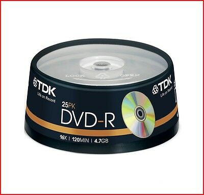 TDK DVD-R 4.7GB 16x Speed 120min Recordable DVD Discs Spindle Pack 25 (T19416)