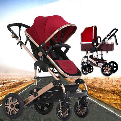 New Luxury Portable 3 In1 A Red Baby Stroller Pram Jogger With Bassinet Au