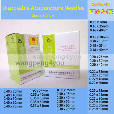 FDA & CE Disposable Acupuncture Spring Handle Needles 1000 pcs with guide tube