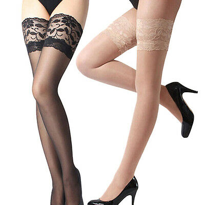 Women's Ladies Lace Top Stay Up Thigh High Stockings Pantyhose Multi-Colors O60