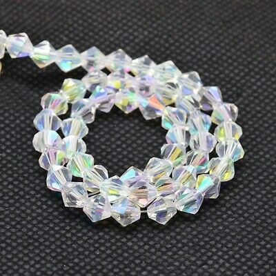 3mm,4mm,5mm,6mm Crystal Ab Electroplate Bicone Glass Beads Strands AB Colour