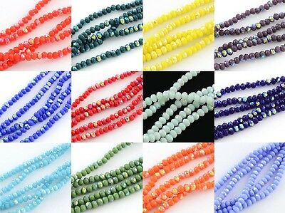 100 pcs RONDELLE FACETED GLASS CRYSTAL BEADS STRANDS 6 X 4mm Half AB Plated