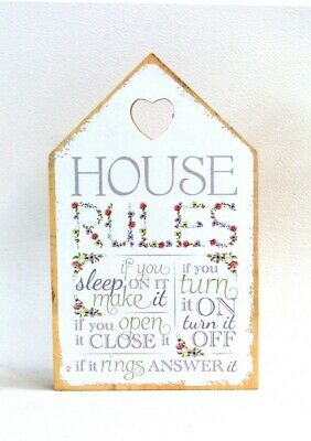 House Plaque Sign with Verse HOUSE RULES - Sleep - Turn it Off - Open Close