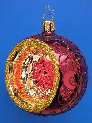 "3.2"" INGE GLAS DARK RED REFLECTOR BALL GERMAN BLOWN GLASS CHRISTMAS ORNAMENT set"