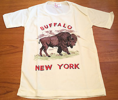 Vintage NOS Buffalo NY Souvenir T-Shirt Child Kids Size 8 100% Nylon Hong Kong