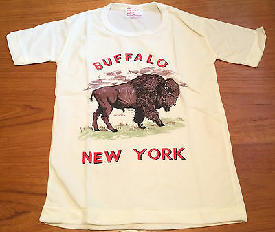 Vintage NOS Buffalo NY Souvenir T-Shirt Child   XS Size 8 Nylon Hong Kong