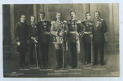 1914 Rp Npu Postcard Kaiser Wilhelm 11 Of Germany & Sons 25Th Anniversary E76