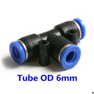 "10Pcs Pneumatic Tee Union Connector Tube OD 1/4""  6MM Air Fitting"
