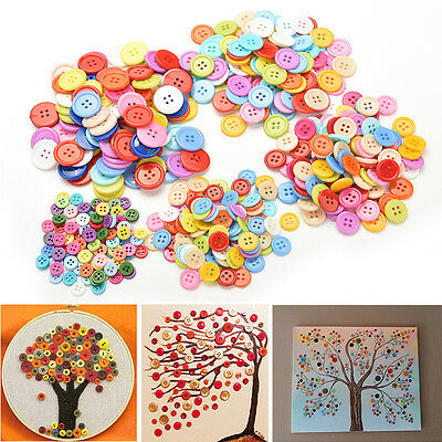 100Pcs Multicolor Sewing Plastic Round Buttons 4 Holes for Kid DIY Crafts 9~20mm