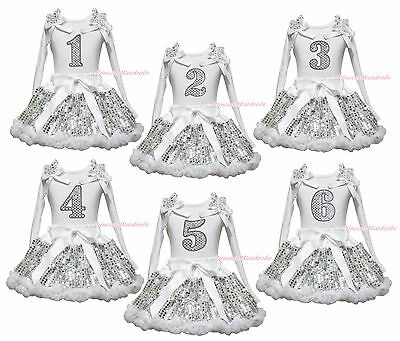 Birthday 1ST 2ND 3RD 4TH 5TH 6TH White Top Girls Bling Sequin Skirt Outfit 1-8Y