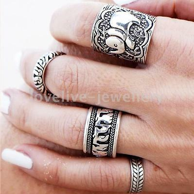 4PCS Antique Silver Carved Elephant Totem Leaf Lucky Ring Set Boho Beach Jewelry