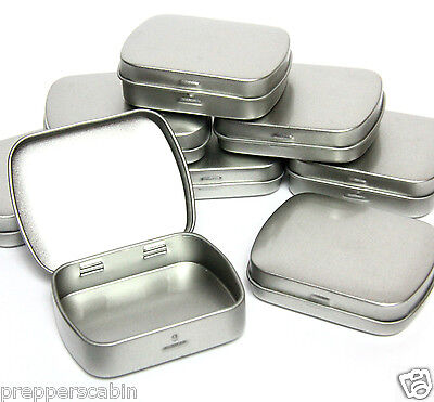 20ml SMALL SILVER METAL TIN HINGED LID 60 x 47 x 12mm Survival Bushcraft Camping