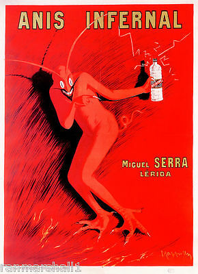 1900's Anis Infernal Devil Wine French France Spirits Advertisement Art Poster